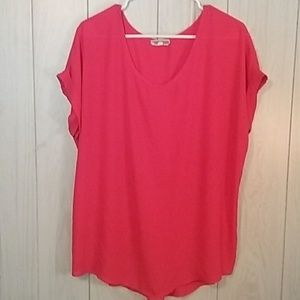 Pleione Pleated Back Cap Sleeve Blouse Coral XL